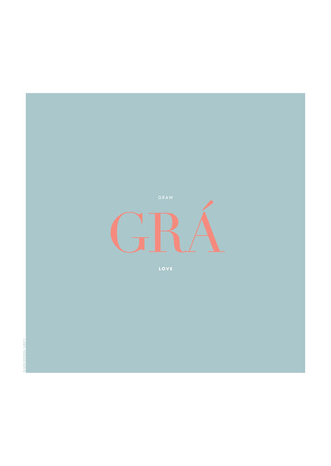 Irish Word poster 'Grá, means love in Irish, Irish Wall Prints, Irish prints,  rarebirds art