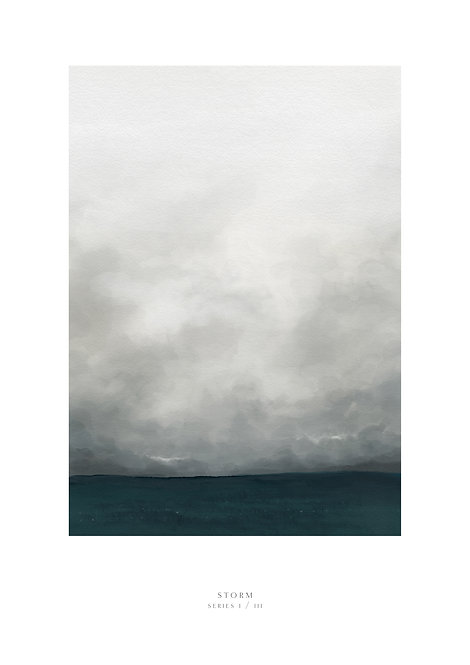 Painting of storm clouds and the sea, wall art, art print, seascape painting