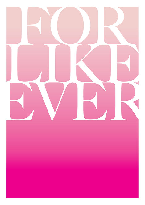Valentines poster, love poster, for love poster, neon pink poster, typographic poster