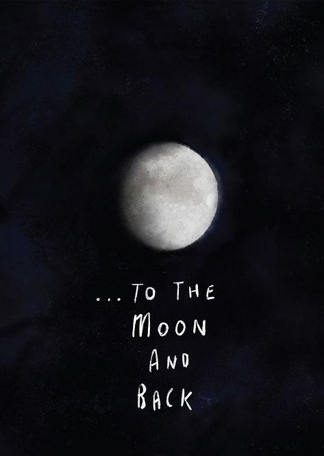 Kids to the moon and back poster, kids framed wall art, rarebirds art, words for kids poster, kids inspirational poster