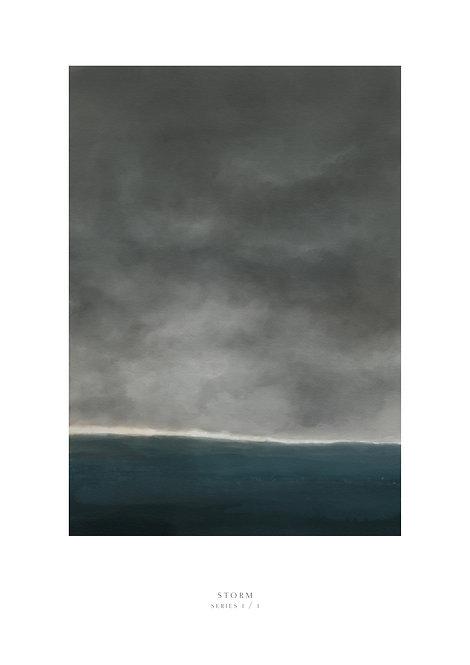 Painting of a storm brewing on the Irish Sea, Irish art print, rarebirds art