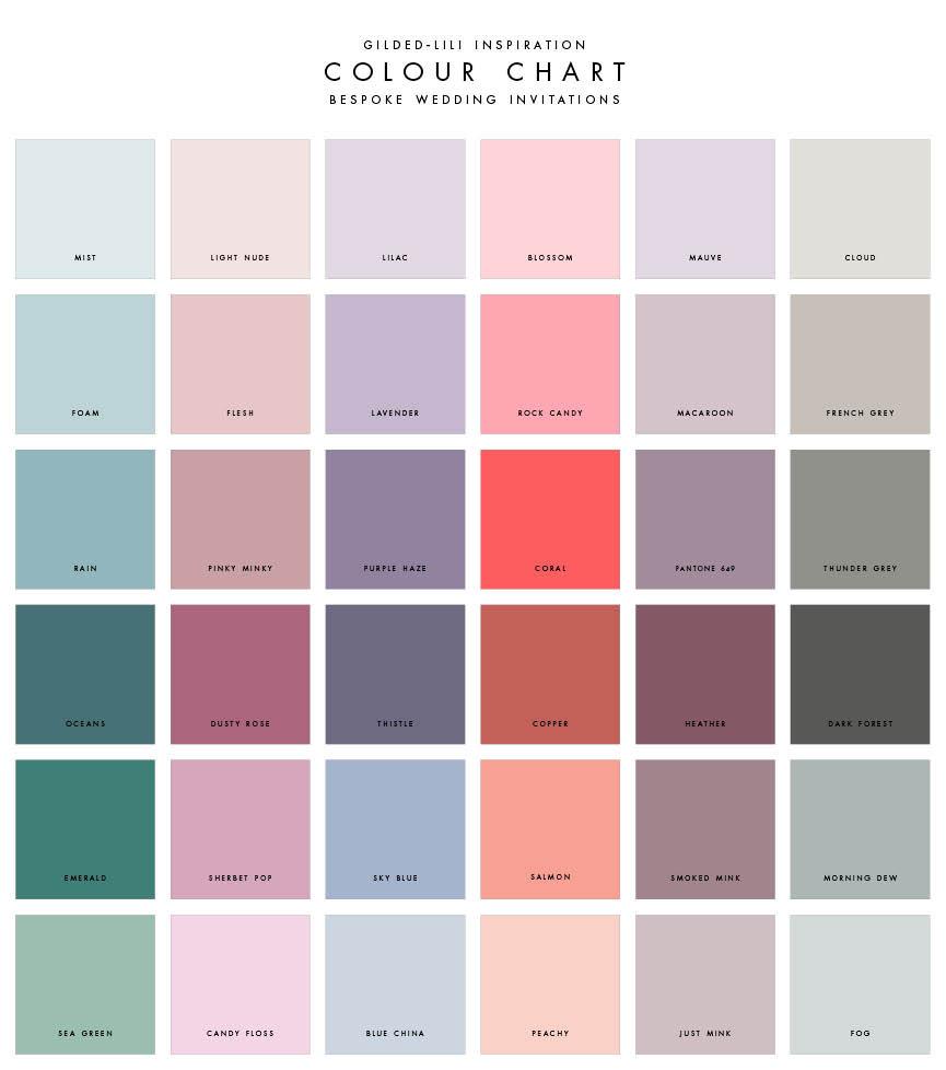 wedding invitation colour chart