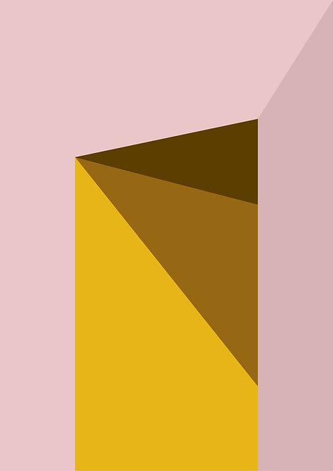 Graphic print, shadows prints, graphic design print, wall art, rarebirds art, pink and yellow graphic shapes print, graphic