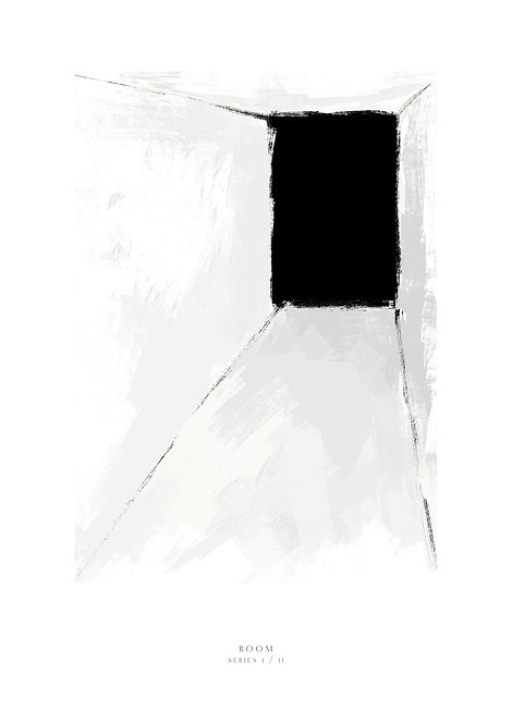 black and white painting, room painting, dimension art