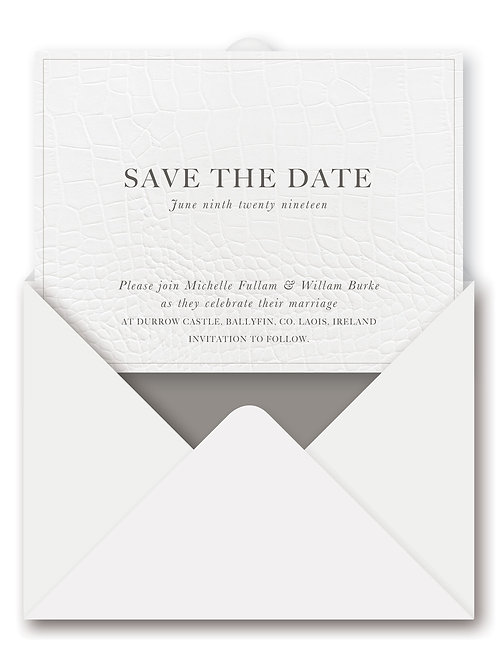 FAUX CROC SAVE THE DATE PAPERLESS CARD