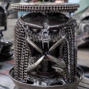 Predator head metal chair sculpture mari9art