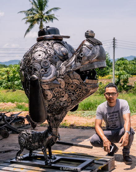 happy dog scrap metal sculpture by mari9