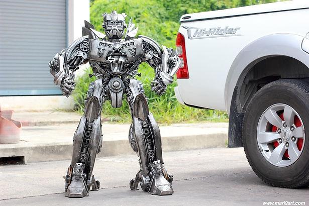 Metal sculpture, scrap metal artwork compare size