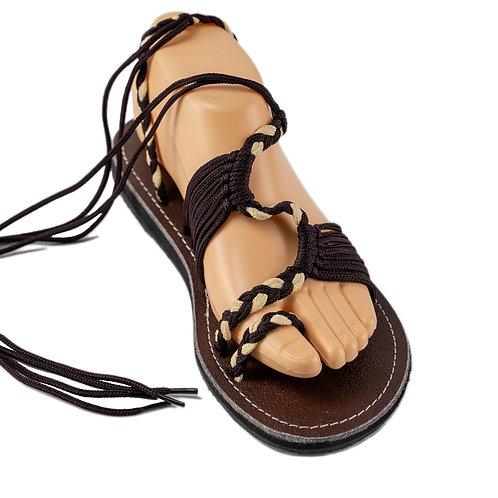 Braided sandals brown cream nancy style