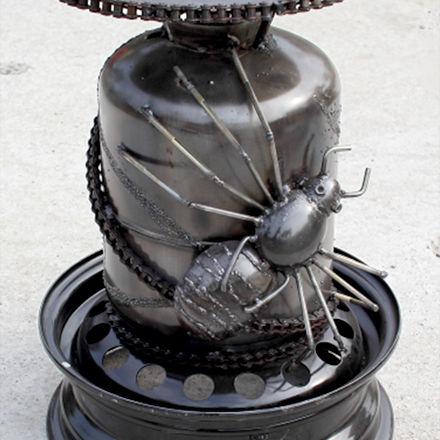 Spider chairs scrap metal sculpture