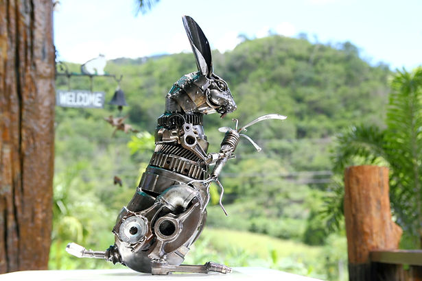 Standing rabbit steel sculpture metal sculpture inspired