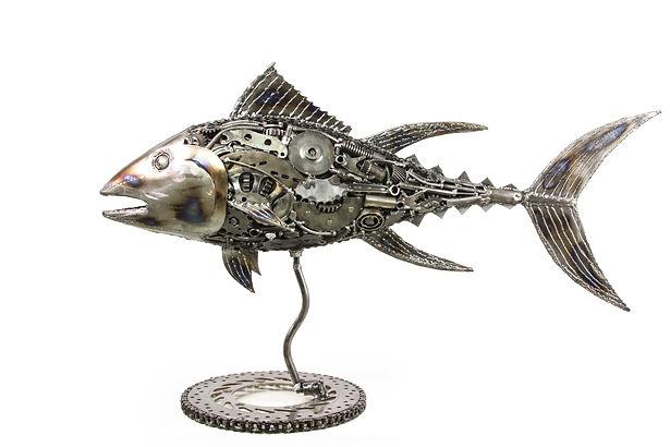 Fish metal sculpture made from scrap metal, left
