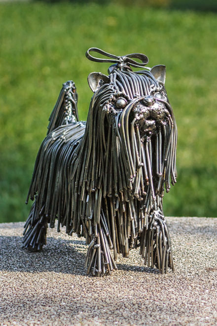 dog shitzu metal sculpture by mari9art.j