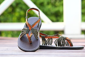sandals for women baily design orange cream color by nittynice