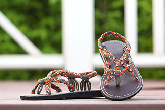 sandals for women paula design orange brown color by nittynice