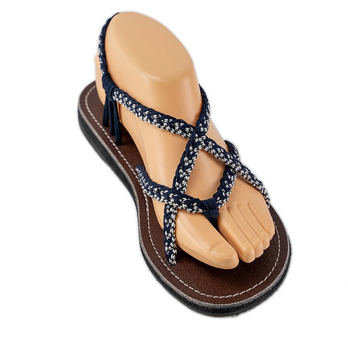 Braided sandals blue white paula style