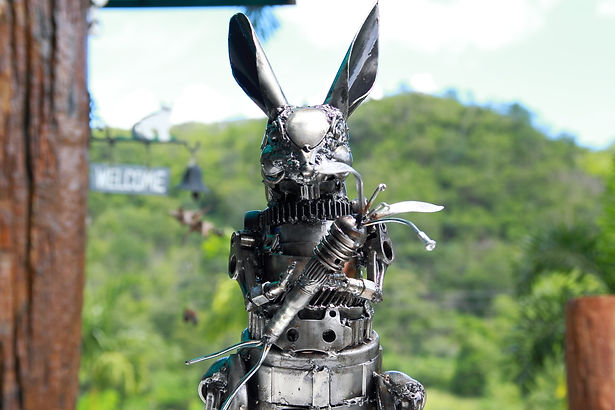 Scrap metal animal art work in Rabbit