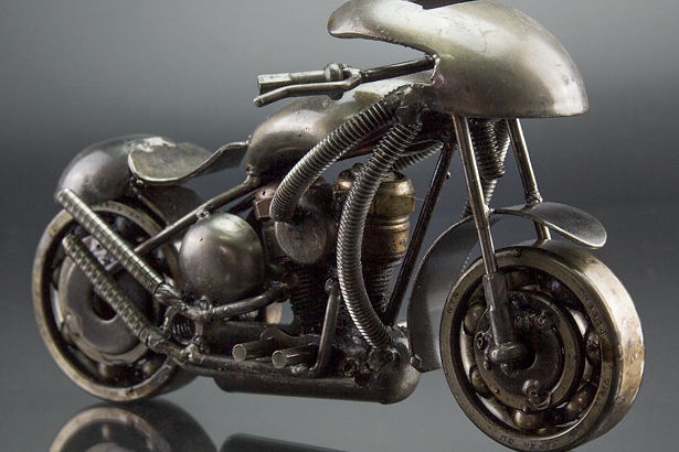 Sport motorcycle scrap sculpture made from scrap metal 3