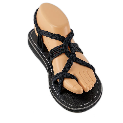 Braided sandals all black abby style