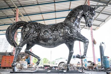 Metal Horses life size scrap metal art sculpture right side