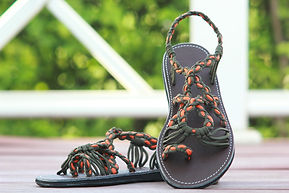 sandals for women bella design orange green color by nittynice