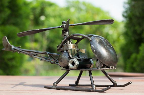 Helicopter bell47 model type 2 scrap metal sculpture 4
