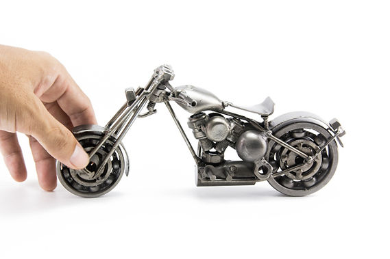Bobber chopper bike model scrap sculpture made from scrap steel 5