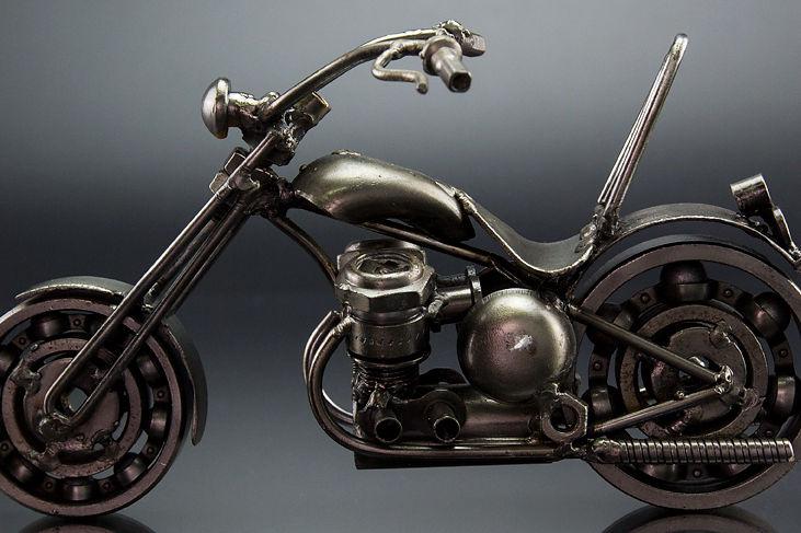Chumps chopper bike model scrap sculpture made from scrap steel 1