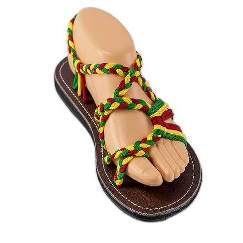 Braided sandals red green yellow zindy style