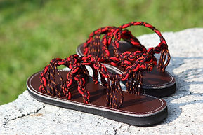 sandals for women daisy design dark red color by nittynice