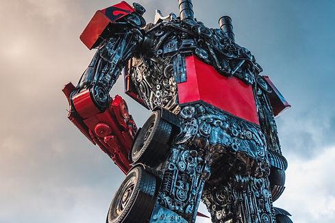 scrap metal large sculpture transformer back side