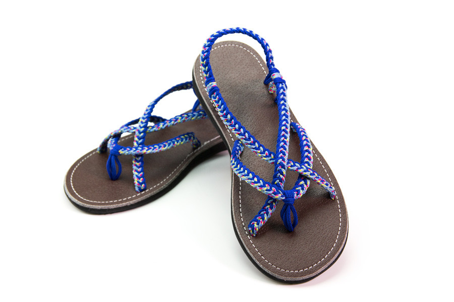 braided sandals blue color