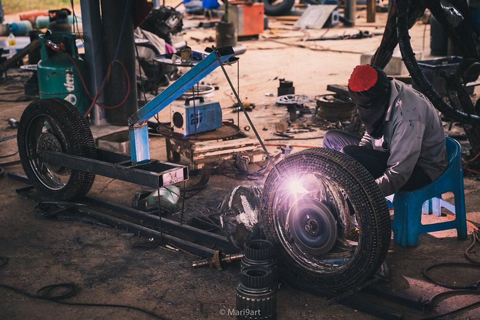 Ghost rider motorcycle scrap metal sculp