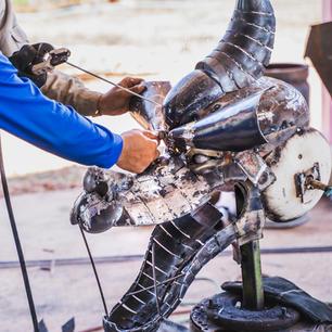 Dragon head scrap metal sculpture