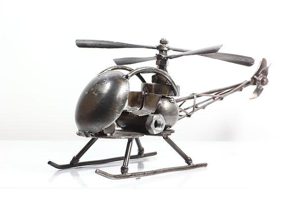 Helicopter bell47 model type 2 scrap metal sculpture