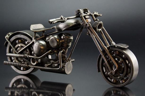 Bobber chopper bike model scrap sculpture made from scrap steel 3