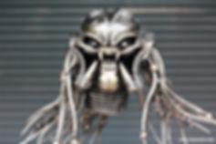 Stunning predator head metal sculpture