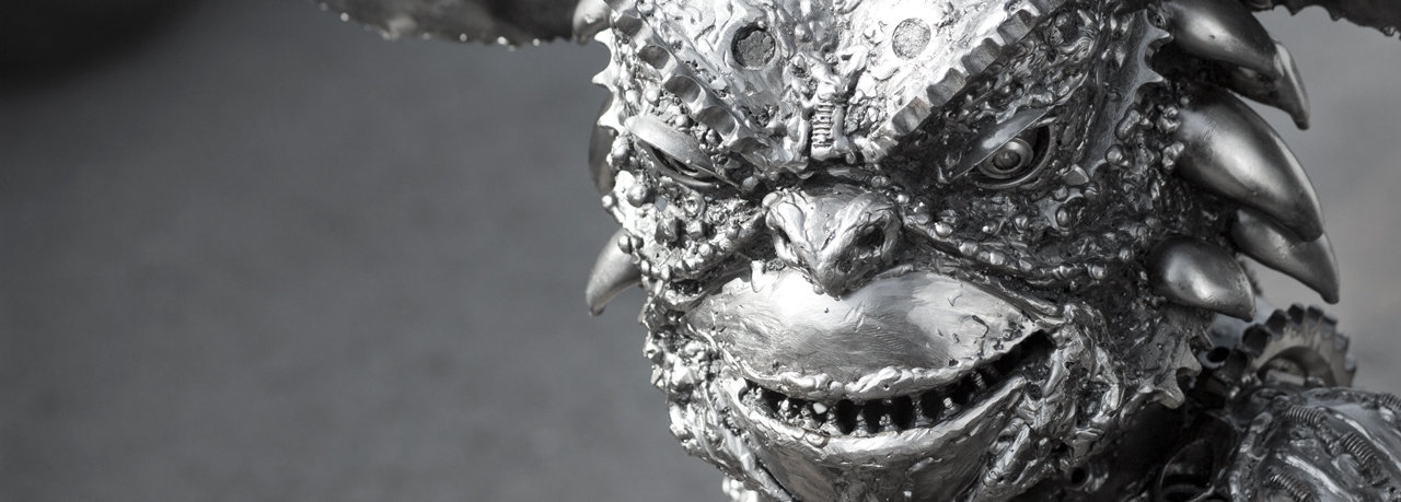 Gremlin metal scupture from horror movie