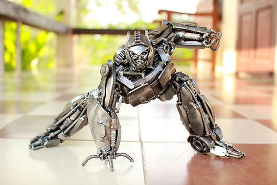 optimus prime scrap metal sculpture front