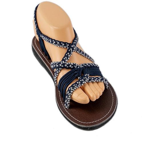 Braided sandals blue white emmy style