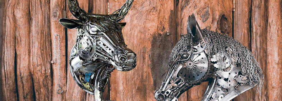 Bull head metal artwork