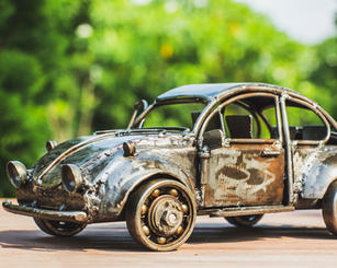 Vintage car scrap metal art sculpture