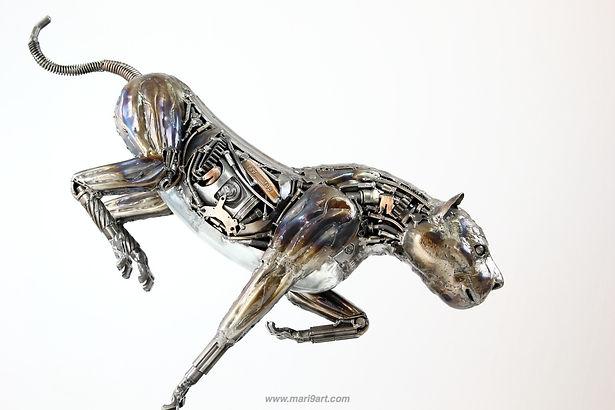 Rocket lion scrap metal artwork