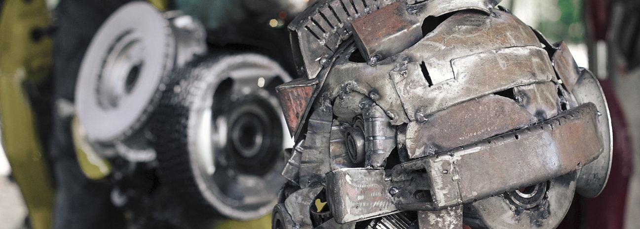 Scrap metal art transformer movie