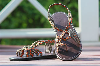 sandals for women rose design orange grey color by nittynice