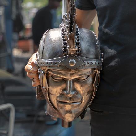 Roman warrior metal sculpture