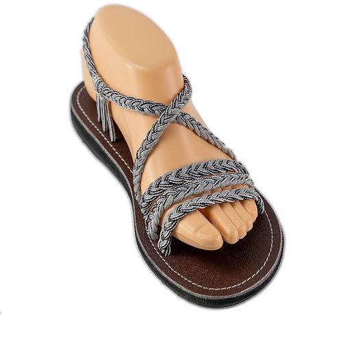 Braided sandals grey black fairy style