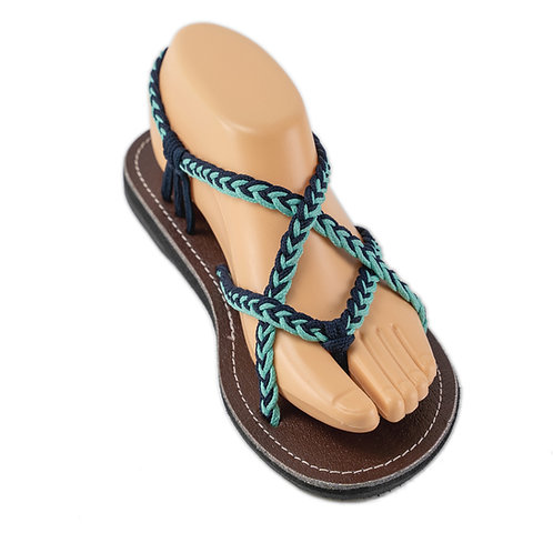 Braided sandals blue teal paula style