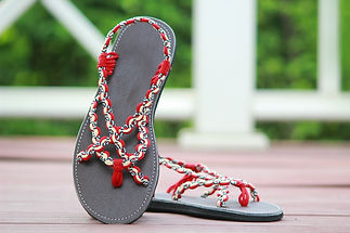 sandals for women paula design red cream color by nittynice