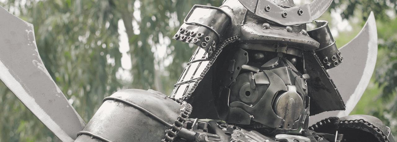 Samurai robot metal artwork
